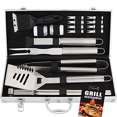 - ROMANTICIST 20pc Stainless Steel BBQ Grill Tool Set - Perfect BBQ Gift for Men Women on Birthday Wedding - Complete Outdoor Barbecue Grilling Accessories Kit in Aluminum Storage Case