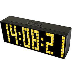 BestOpps Digital Large Big Jumbo LED Snooze Wall Desk Alarm Clock with Thermometer Calendar Indoor Clock (Yellow)