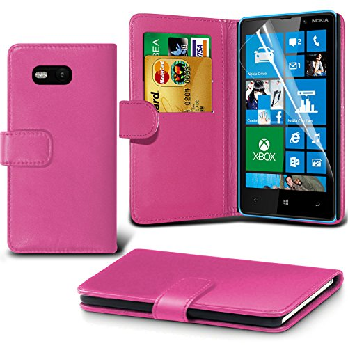 Fone-Case ( Baby Pink ) Nokia Lumia 820 Faux Stylish PU Leather Wallet Credit / Debit Card Flip Case Skin Cover With Screen Protector Guard