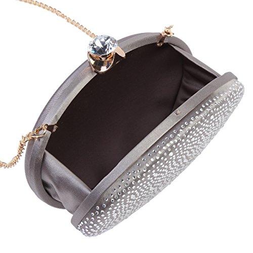 Back Bag Womens Evening Oval Rhinestones Gold Sparkling Damara Smooth H1Ixn0I