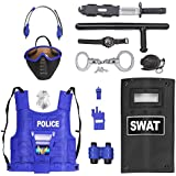 Police Force Role Play Set for Kids with Mask, Combat Vest, Riot Shield, Badge, Handcuffs, Grenade, Club & Knife
