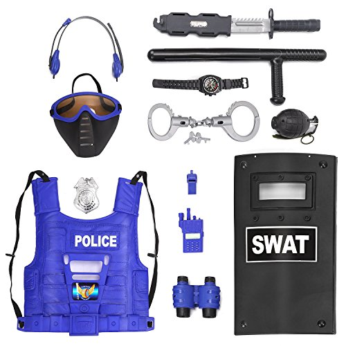Liberty Imports Kids Police Role Play Toy Kit - 15-Piece Policeman Pretend Play Set - SWAT Costume Accessories for Dress Up and Kids Costumes - Badge, Shield, Vest, Handcuffs Included -