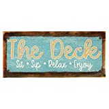 """Framed and Sun Protected The Deck - Sit, Sip, Relax, Enjoy Metal Sign, Framed and Sun Protected 6""""x16'', Sip, Relax, Enjoy Metal Sign, Outdoor Living, Porch, Patio, Deck"""