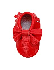 Changeshopping Baby Moccasins Bow Shoes Firstwalker Anti-slip Leather Infant Shoes