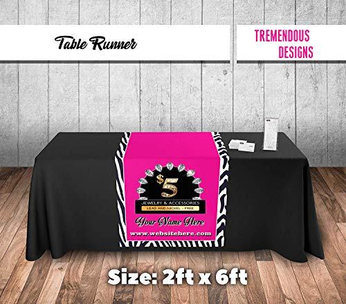 Paparazzi Table Runner - Zebra Stripe Pattern Background Logo Imprint - Size 2ft x 6ft