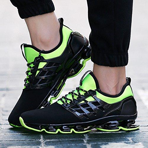 Zapatos para corer hombres Zapatillas de paseo transpirable cuero Athletic Outdoor Trail Deportes ocasionales Ejercicio Calzado verde negro