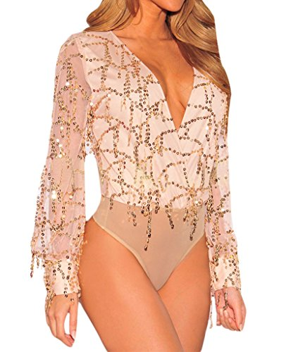 Shawhuwa Womens Sexy Sheer V Neck Sequins Long Sleeve Bodysuit Tops L (Sexy Apricot)