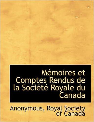 Book Mémoires et Comptes Rendus de la Société Royale du Canada