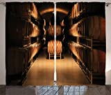 Winery Decor Curtains 2 Panel Set by Ambesonne, Wine Barrel Stacked in Cellar Aged Old Fermenting Quality Container Storage Basement Image, Living Room Bedroom Decor, 108W X 90L Inches, Sand Brown