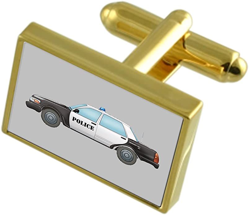 Select Gifts Police Cruiser Cufflinks Engraved Message Box