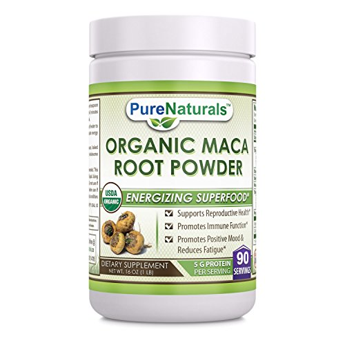 Pure Naturals USDA Certified Organic Maca Root Powder- 16 oz (1 lb)- GMO FREE- Supports Healthy Mood, Hormonal Balance, Cardiovascular Health & Immune Health