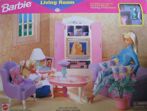 Barbie Living Room Playset - Folding Pretty House (1997 Arcotoys, Mattel)