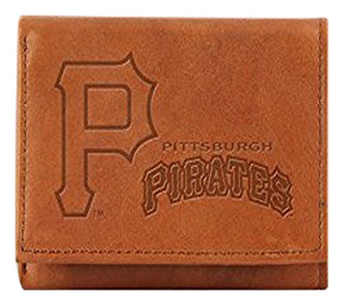 Pittsburgh Pirates Leather Baseball - MLB Pittsburgh Pirates Embossed Genuine Cowhide Leather Trifold Wallet