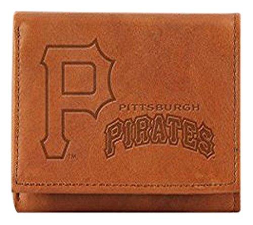 MLB Pittsburgh Pirates Embossed Genuine Cowhide Leather Trifold - Embossed Pirates Leather Pittsburgh