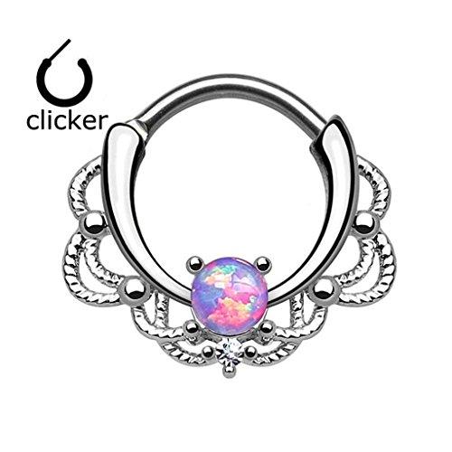 XPIRCN Lacey Single Opal 16G Septum Clicker Ring Titanium Shaft Blue,White,or Purple Synthetic Opal (Jewelry Titanium Ring)