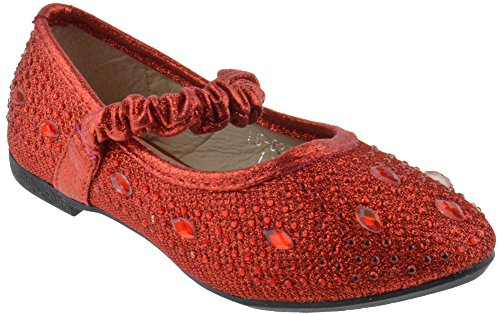 FU 037 KM Little Girls Rhinestone Ballet Ballerina Flats Red Glitter 4 -