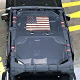 jeep wrangler tops - Front Eclipse Sunshade Mesh Shade Bikini Top Cover with USA Flag by Drizzle Provides UV Sun Protection for Jeep Wrangler 4 Door JK or JKU 2007-2017 Soft Top