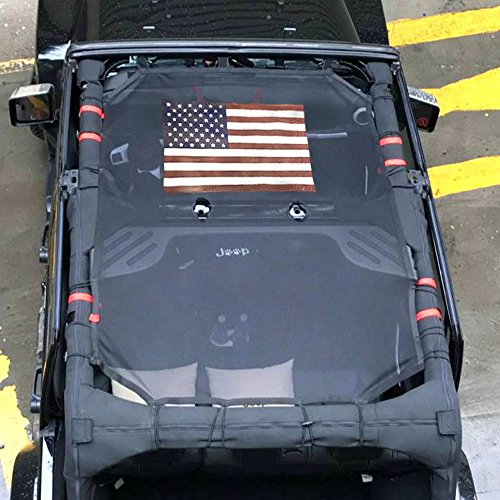 Sunshade Eclipse (Front Eclipse Sunshade Mesh Shade Bikini Top Cover with USA Flag by Drizzle Provides UV Sun Protection for Jeep Wrangler 4 Door JK or JKU 2007-2018 Soft Top (Flag, 4 Door))