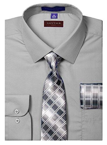 Guytalk Mens Dress Shirt With Matching Tie And Handkerchief