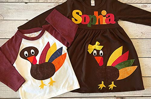 Matching Thanskgiving Outfits Children, Custom Sizes, Brown Turkey Dress Girl, Raglan Turkey Shirt Boy, Brother Sister Thanksgiving by Sweet Sophia Designs