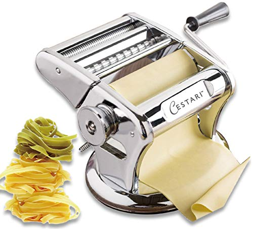 Ultimate Pasta Machine - Professional Pasta Maker - Unique Patented Suction Base for No-Slip Use of Stainless Steel Pasta Roller Machine - 150 mm - Noodle Maker and Dough Roller by Cestari Kitchen