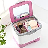 Cosmetic Storage Box Hand Held Portable Makeup Medicine Organizer Boxes With Mirror
