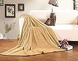 Elegant Comfort  Luxury Velvety Softness Fuzzy Plush Micro-Velour Ultra-Soft Blanket 100% Hypoallergenic, King/California King, Gold-Yellow