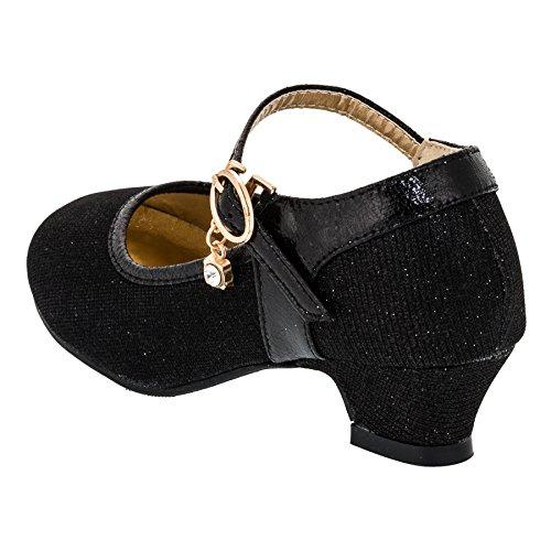 Festliche Mädchen Pumps Ballerina Schuhe Absatz Glitzer in Vielen Farben M320sw Schwarz