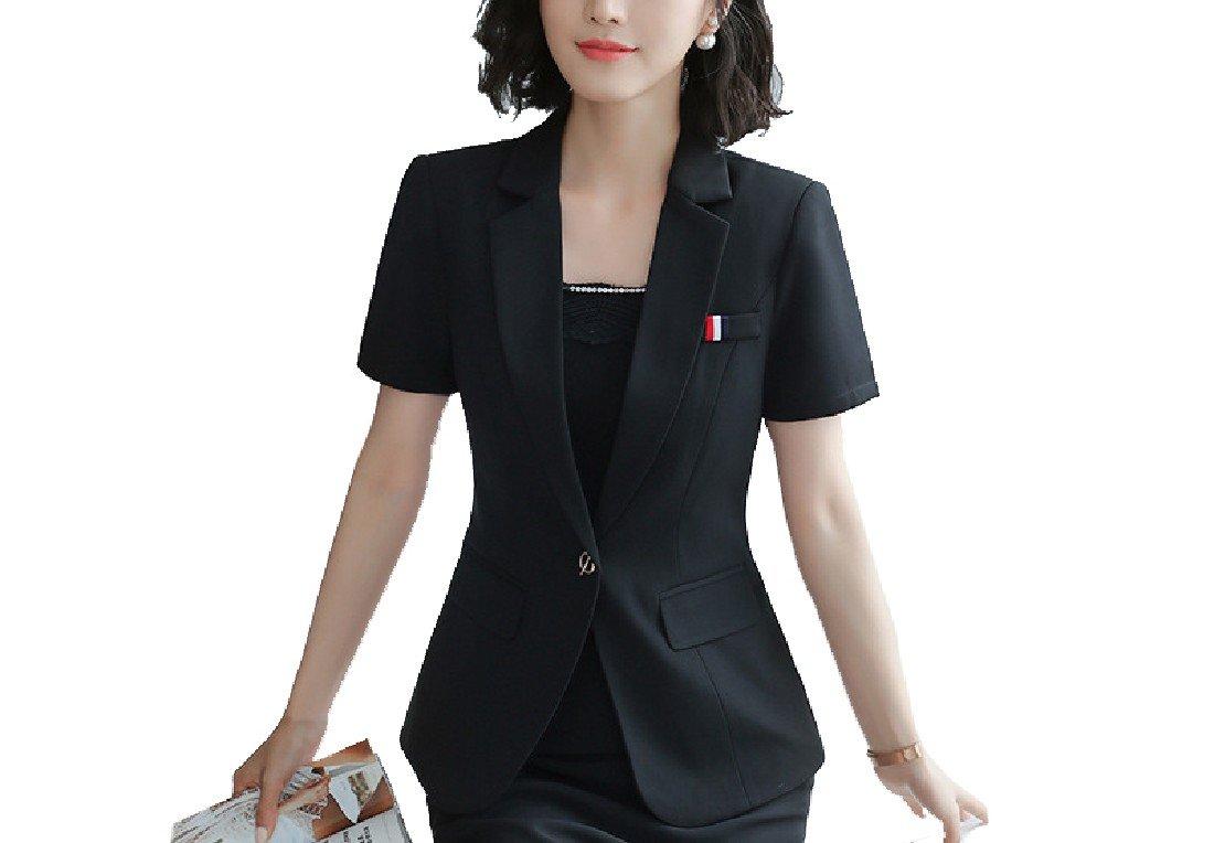 Abetteric Women's Short-Sleeve Plus Size Business Spring Summer Blazer Jacket 1 3XL