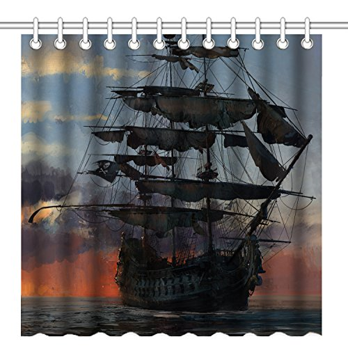 Pirate Curtain (Wknoon 72 x 72 Inch Shower Curtain,Vintage Old Sail Boat Pirate Ship At Sunset Landscape Oil Painting Art,Waterproof Polyester Fabric Decorative Bathroom Bath)