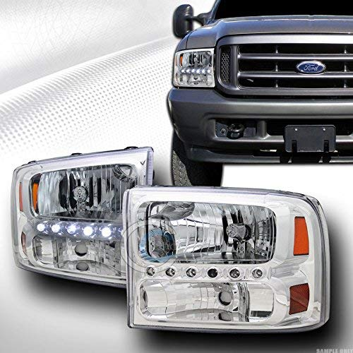 Velocity Concepts Euro Sport Chrome LED Head Lights with Corner Signal AM 1P KS for 1999-2004 Ford F250 / F350 / F450 Superduty Excursion ()