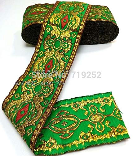 Utini 50mm 5cm 2'' Costume Curtain Laciness Lace Woven Embroidery National Jacquard Ribbon Webbing Angelas Eye Filigree Green Metallic