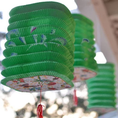 Square-shaped Asian Style Lanterns (3 Per Pack)- Green -