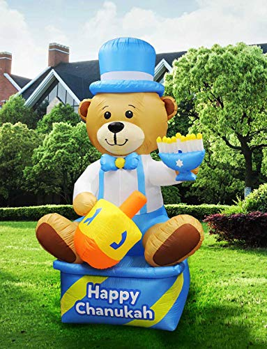 Zion Judaica Inflatable Lawn Hanukkah Bear Indoor Outdoor Decoration with LED Night Glowing Lights - 8' Tall 2017 Version -