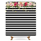 Black White and Pink Shower Curtain Riyidecor Flower Shower Curtain Panel Black and White Stripe Floral Wedding Rose Pink Herbs Decor Fabric Set Polyester Waterproof 72x78 Inch Free 12-Pack Plastic Hooks