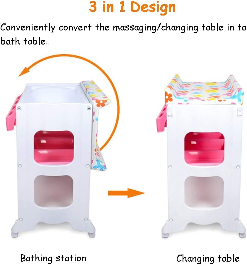 Color : A ZAQI Changing Table For Childcare Nursery Toddler Baby Girl Movable Bathing Station with Large Storage Space Bathtub and Pad Support 50 kg