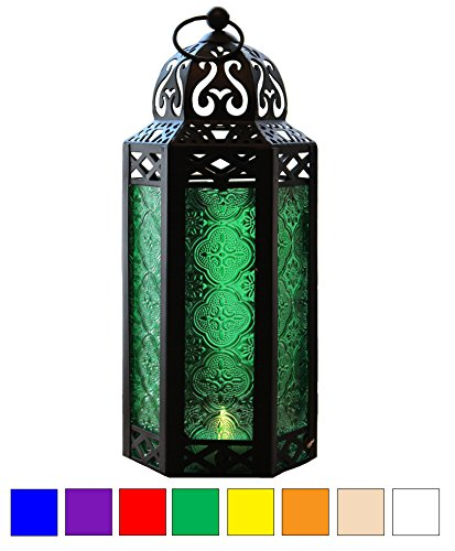 Green Glass Moroccan Style Candle Lantern - Great for Patio, Indoors/Outdoors, Events, Parties and Weddings -