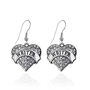 Writer Pave Heart Earrings French Hook Clear Crystal Rhinestones