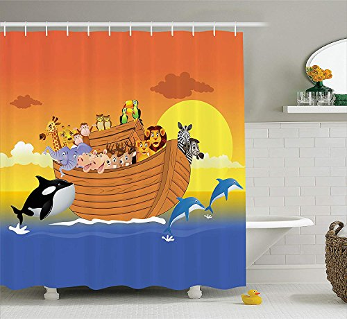- Religious Shower Curtain The Ark Boat with Happy Mythical Creatures in The Sea with Whale and Dolphin Fabric Bathroom Decor Set with Hooks Long Orange Blue 84
