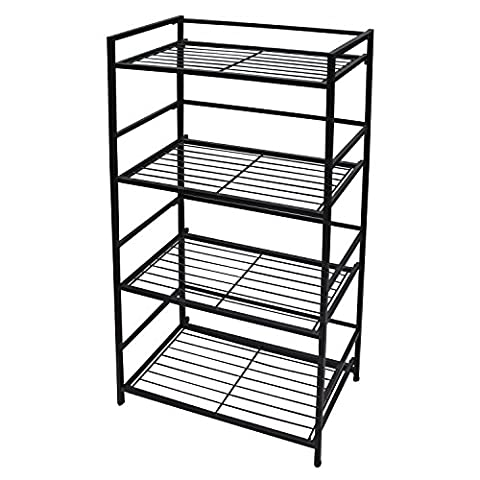 FlipShelf Shelving Unit, 4-Shelf Wide Design, 26.5 W x 12 D x 43 H Inches, Powder-Coated Steel, Black - Design 4 Shelf