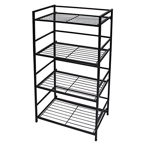 Flipshelf-Folding Metal Bookcase-Small Space Solution-No Assembly-Home, Kitchen, Bathroom And Office Shelving-Black, 4 Shelves, Wide (4 Shelf Black Metal Bookcase)