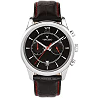 [Sponsored] Vincero Luxury Men's Bellwether Wrist Watch — Black/Red dial with Black Leather Watch Band — 43mm Chronograph Watch — Japanese Quartz Movement