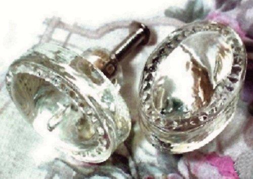 Vintage Style Glass Cabinet Drawer Knob Oval Set, Of (T126 Set)