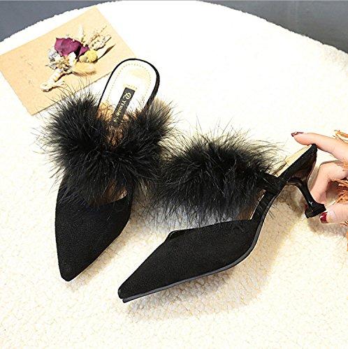 de Flops mullidas Sexy Otoño Negro Plumas Flip Alto Zapatos tacón Redonda marrón de Negro Scrub DANDANJIE Zapatillas de Zapatos Cabeza caseros Color de Beige al Mujer de Aire Caqui Libre TxPYnZqa