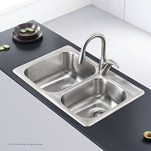 Kraus KTM32 33 inch Topmount 60/40 Double Bowl 18 gauge Stainless Steel Kitchen Sink by Kraus (Image #2)
