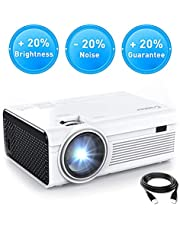 Crosstour Projector, Mini HD Video Projector 1080P Supported with HDMI and AV Cable, Work with TV Box/PC/PS4/HDMI/VGA/TF/AV/USB/Smartphones (upgraded) …