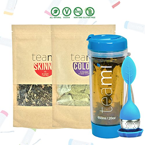 30 Day Detox Tea Kit for Teatox & Weight Loss to get a Skinny Tummy by Teami Blends | Our Best Colon Cleanse Blend to Raise Energy, Boost Metabolism, Reduce Bloating! (Big Black Tumbler & Infuser)
