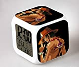 Japanese Anime One Piece Ace Seven Color Change Glowing Digital Alarm Clock