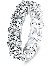 Eternity Band Cocktail Ring 925 Sterling Silver Princess Cut Cubic Zirconia Stone