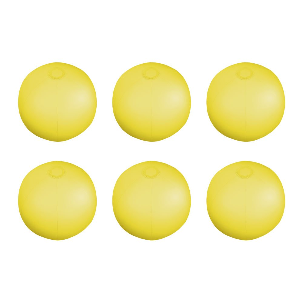 eBuyGB Pack of 6 Inflatable Colour Beach Ball 22 cm/9'' - Beach Pool Game (Yellow) by eBuyGB